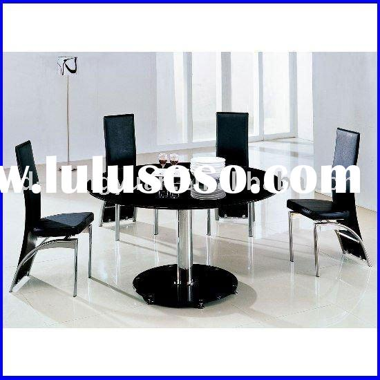 Round glass dining table and chair