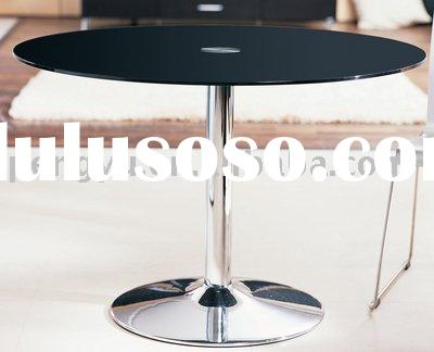 Stainless steel gloss Round glass dining table extra large black