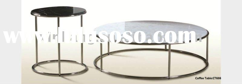 Stainless steel round glass coffee table