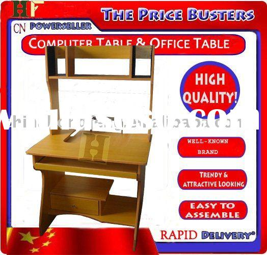 Well-mannered Small Wood Computer  Home Office Desk Desk workstation with Hutch in Cherry