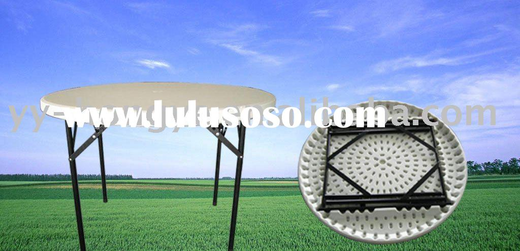 White 44inch Round Plastic Folding outdoor Table (HDPE, BLOW MOULD)