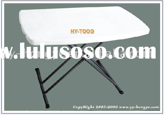 White Plastic adjastable folding table (blow mould furniture, HDPE)
