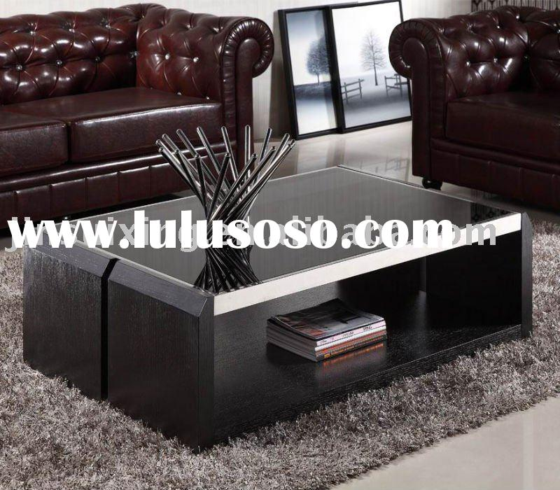 Wooden Coffee Table (Mdf in Glass & Wood veneer) D097#
