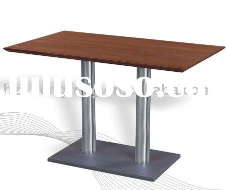 cafe wooden top booth seating dining table with cast iron base