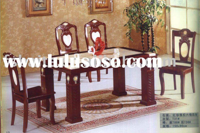dining sets:T31#(marble top table and wooden leg )