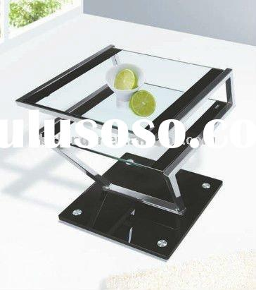 modern black tempered glass coffee table