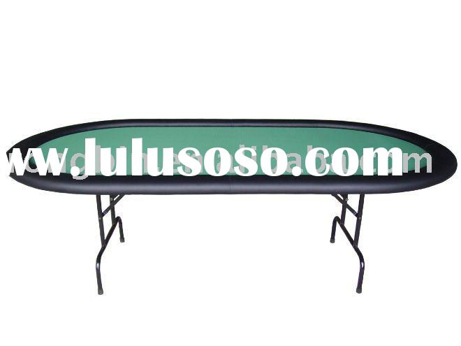 oval folding poker table in green color