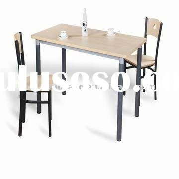 restaurant steel frame HPL top rectangle dining table with chair