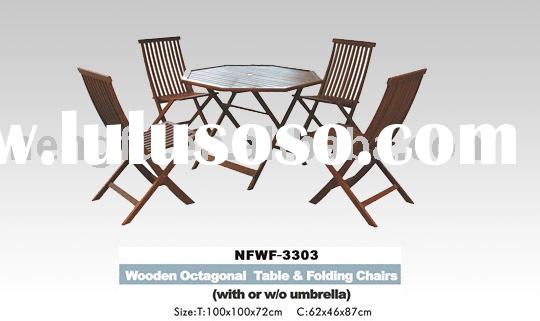 table chair(Wooden Octagonal Table & Folding Chairs)