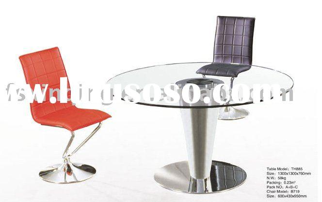 tempered glass round dining table, metal dining table