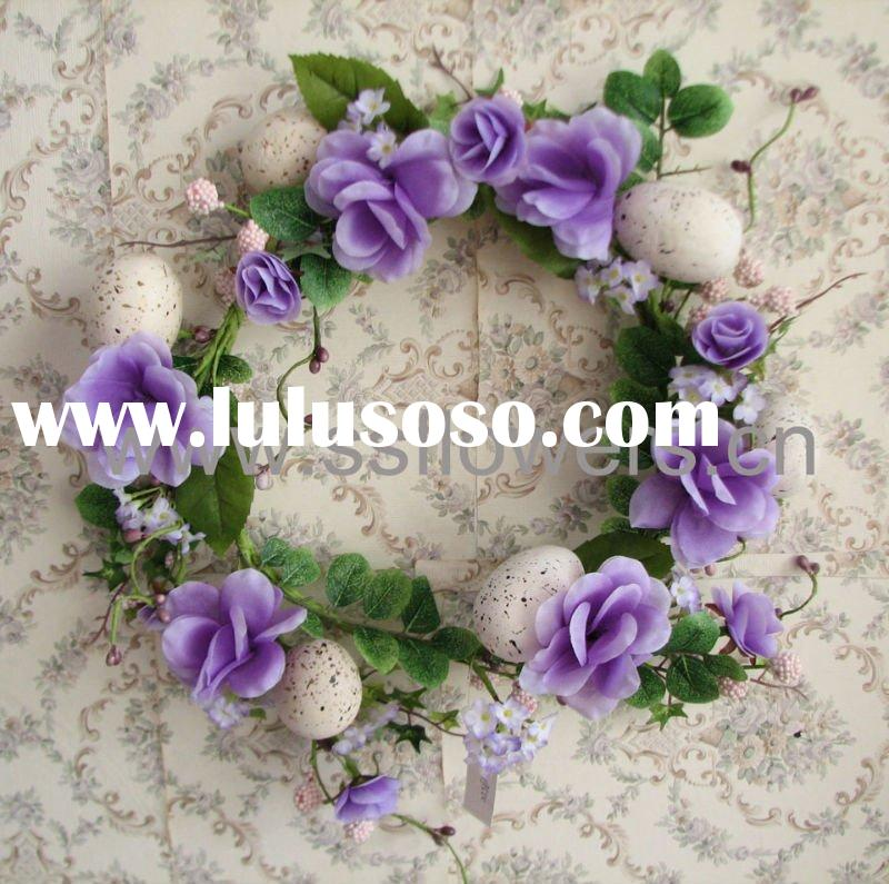 "2011 New Artificial Flowers Wreath,Silk Flowers,13""  Artificial Flower & Egg Wreath"