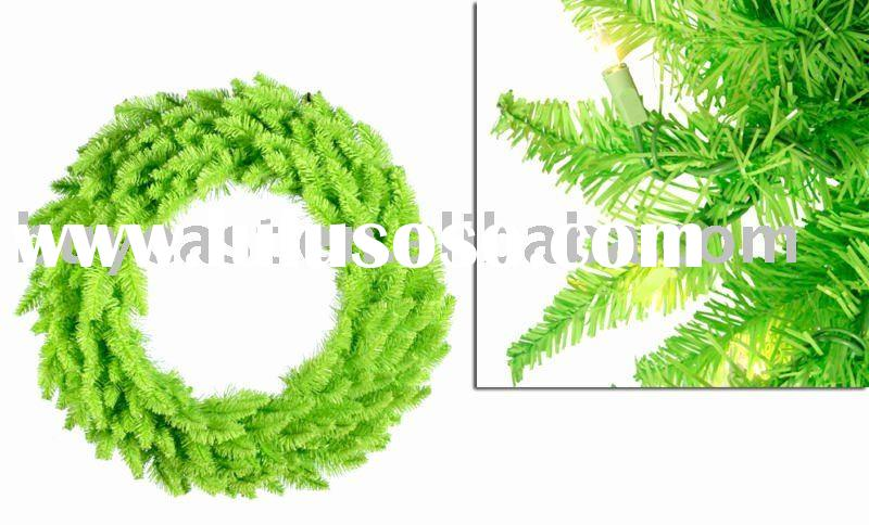 "24"" PRE-LIT LIME LIGHT GREEN SPRUCE CHRISTMAS WREATH"