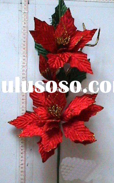 Bright red artificial diamond-wool-made flower decoration