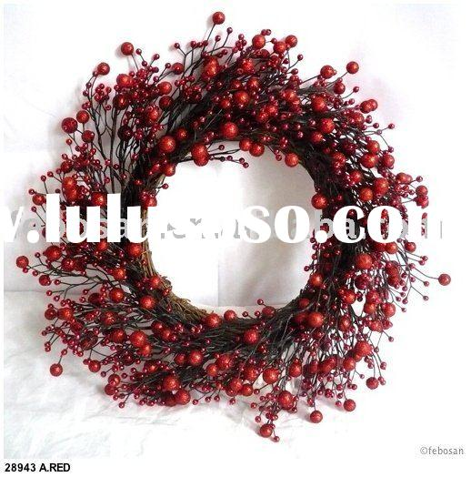 "Christmas Wreath - 14"" Aritificial X`MAS Berry Wreath"