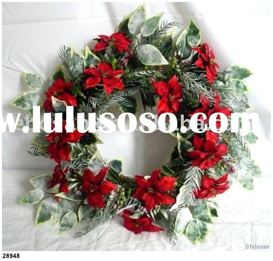"Decorative Christmas flower - 22"" Artificial Poinsettia / Foliage Wreath ornament"