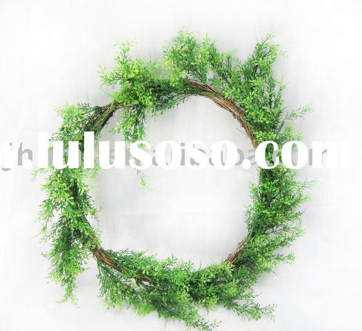 Decorative artificial grass wreath