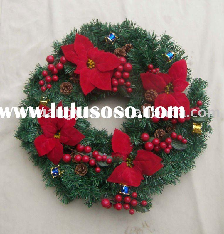 Decorative christmas wreath with flower