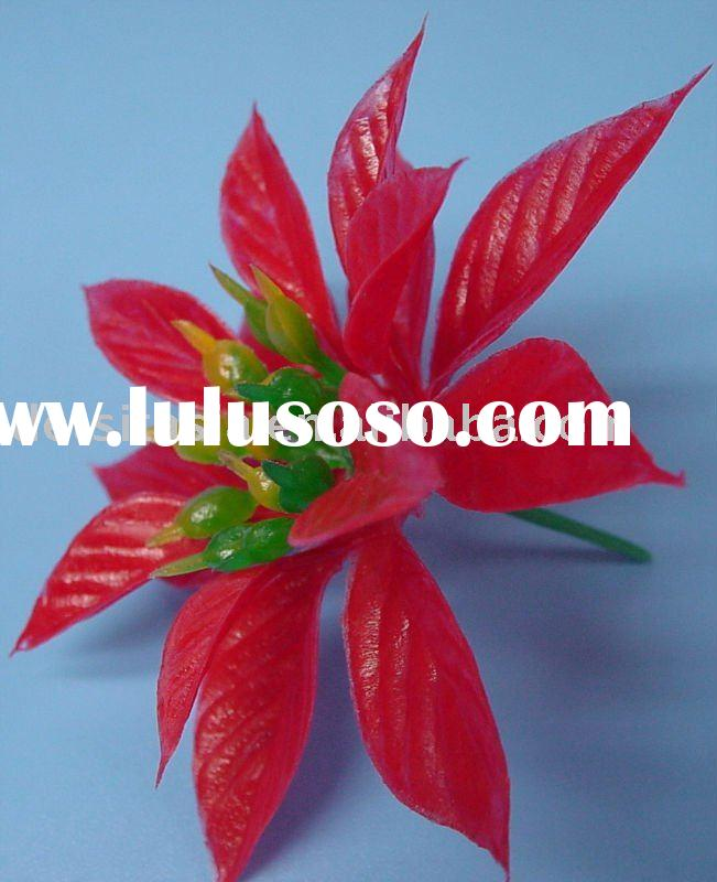 Double Red Christmas Flower Cake Decoration