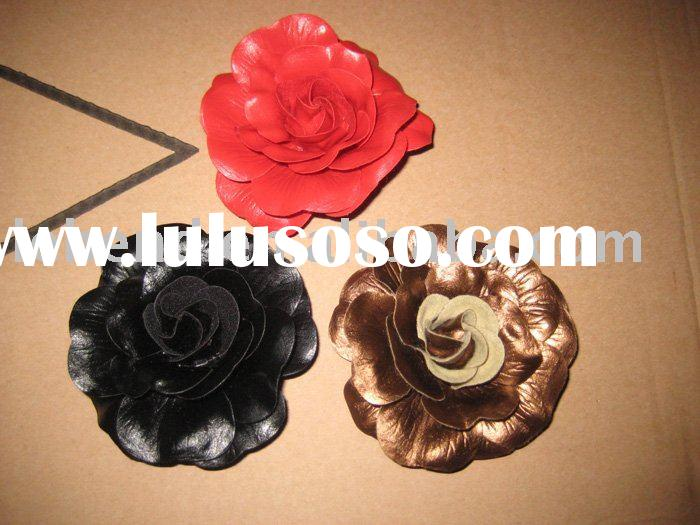 Fashion leather Flower Clips/feather flower hair clip