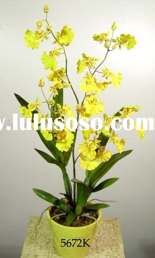 "Funeral flower artificial flower fake flower silk flower for 23"" Lg. Dancing Orchid W/Pot"