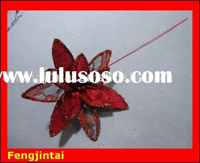 Insert cardinal handmade organza flower decoration with sequins