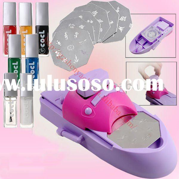 NAIL ART DIY PRINTING STAMPING STAMP MACHINE W/ POLISH VARNISH Print PLATE