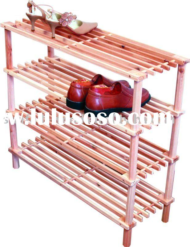Natural,Winsome Wood Foldable 4-Tier Shoe Rack