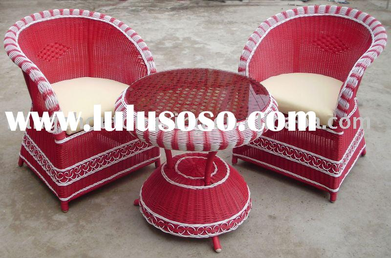 Outdoor furniture rattan chairs and table set 3pcs B-060