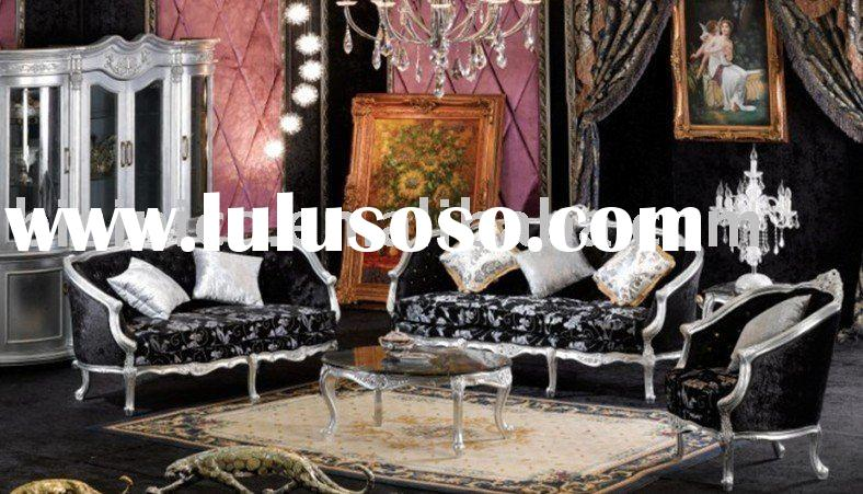 Wooden French sofa set, white color, three seat sofa, tea table, living room furniture