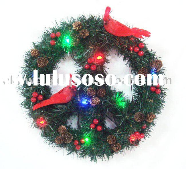 <New>Lighted Christmas peace sign wreath decoration