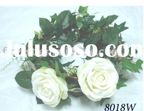 artificial flower  polyester Rose Mix Ivy Wreath