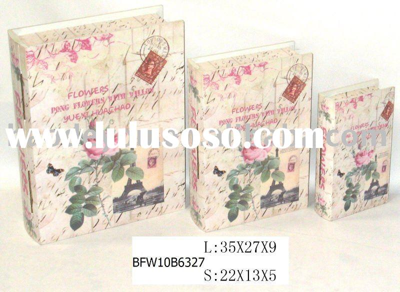 exquisite flower print decorative wooden book box
