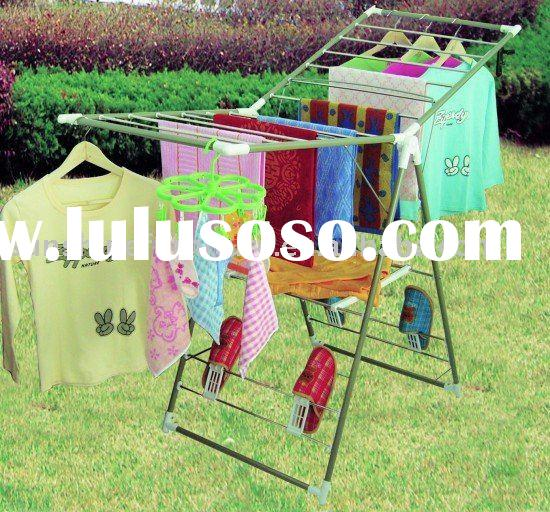 folding stainless steel clothes laundry garment hanger drying rack