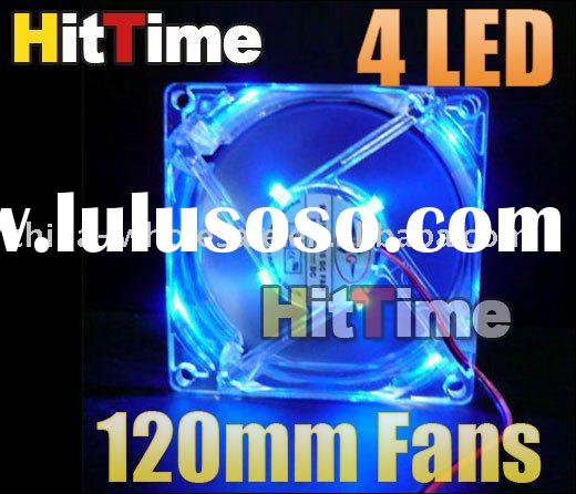 120mm Fans 4 LED Blue for Computer PC Case Cooling Wholesale Free Shipping