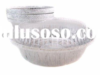 """7"""" round foil container with clear plastic dome lid"""