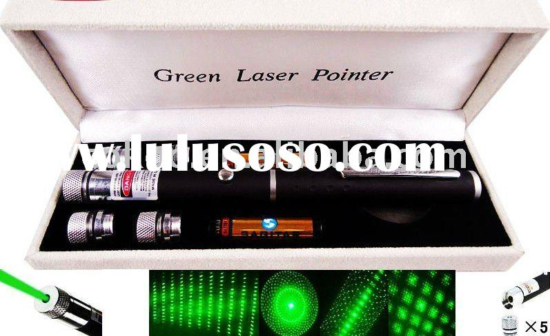 Hot 5mw-200mw Green Laser Pointer with 5 Adapters