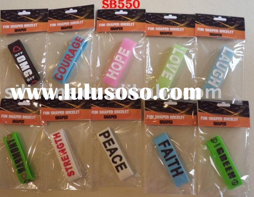 Promotional 1 INCH width debossed silicone wristbands saying words