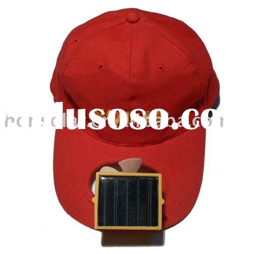 Solar cap with cooling fan.