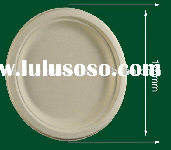 """biodegradable paper tableware 7"""" plate (176mm, natural, white color ,printable ,good solution f"""