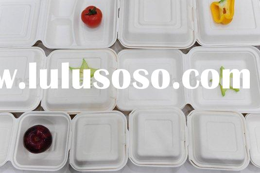 biodegradable paper tableware lunch boxes, natural, white color,printable,good solution for take awa