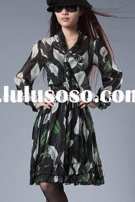2011 new style ladies' fashionable casual long sleeve dresses