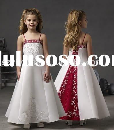 2011 new style silk flower girl dress