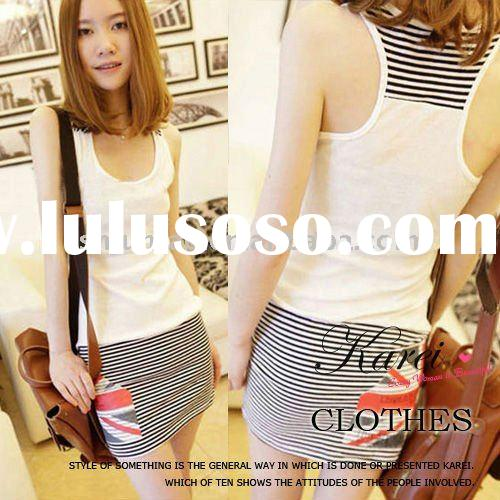 2011 newest style long striped casual women fashion dress(15087)