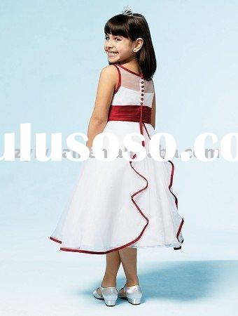 2011 white red silk flower girl dress