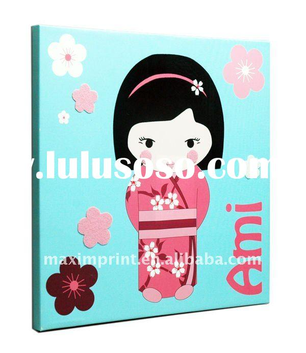 Giclee Printing on Canvas Fabric with Nice Applique Japanese girl style