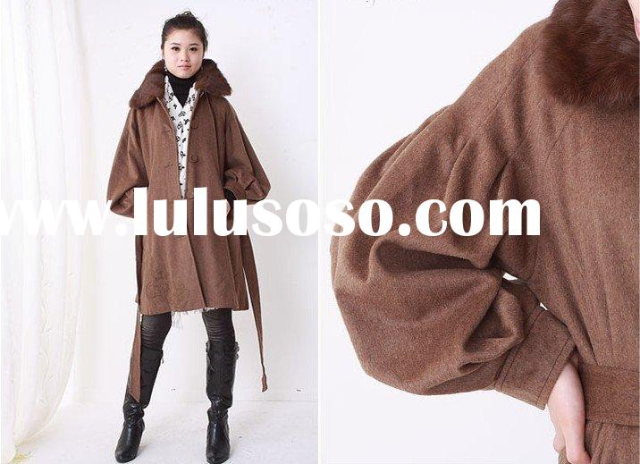 Ladies Coats Winter Coat Wool Coat Bubble Sleeve Belted Long Coffee Coat