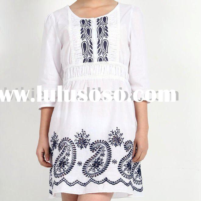 Lastest half-sleeve casual  lady short dress