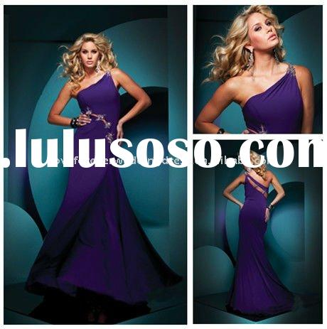 One-shoulder Shealth Chiffon Purple Prom Dresses