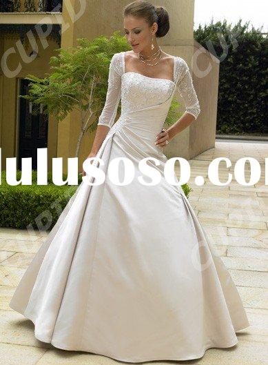 Satin Beach Casual Long sleeve wedding dress Brides Dress