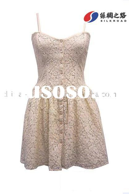 ladies sleeveness casual cotton lace dress